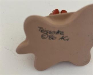 Signed clay sculpture