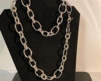 Silver chain necklace. Costume