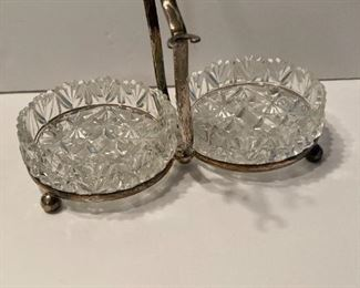 Silver plate, glass dual serving dish