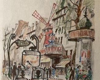 Herbelot Paris, 6 Moulin Rouge. Original Painting done in the 1960's along the Sienne River in Paris.  This was painted for the family during a 1960's trip to Paris.  It was painted and signed in front of them along the Seine River verified as an original by the owner.