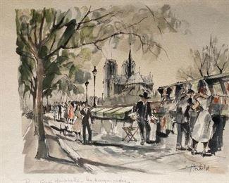 Herbelot Paris, Montebello. Original Painting done in the 1960's along the Seine River in Paris.