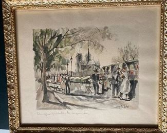 Vintage Franz Herbelot, Montebello, Moulin Rouge Paris, Signed Watercolor in Gold Frame.  This was painted for the family during a 1960's trip to Paris.  It was painted and signed in front of them along the Seine River verified as an original by the owner.