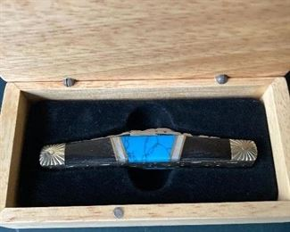 Turquoise and black pocket knife By Silverhorse Stoneworks