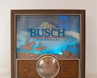 Busch Beer Lighted Clock Sign