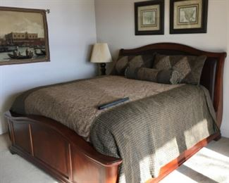 STUNNING KING SIZE WOOD & LEATHER BED WITH VERY CLEAN SUPER HIGH END ENGLISH MATTRESS & BOX SPRING.