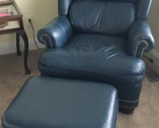 SUPER HIGH END HANCOCK & MOORE LEATHER CHAIR & OTTOMAN
