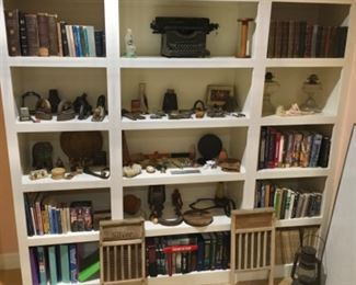 SHELVING UNIT FULL OF BOOKS, ANTIQUES AND COLLECTIBLES
