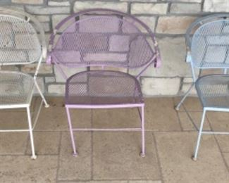 3 COLORED OUTDOOR METAL CHAIRS