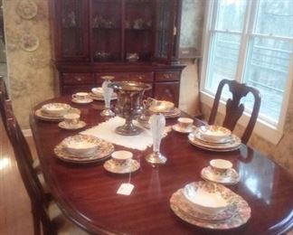 cherry dining table, 6 chairs, china cabinet