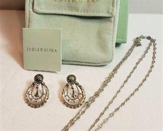 Judith Ripka Silver (925) Necklace (18 in.) & Earrings Set