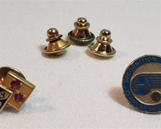 2 Recognition Tie Tacs: 14K Skelly w/2Rubies & Santa Fe 35 Years of Safe Driving (unmarked) ~ 3 extra backs