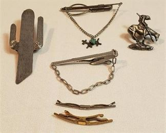 Men's Tie Bars, Pins, Collar Clips, Bolo Clip and Carved Stone Buffalo Pennant (signed)