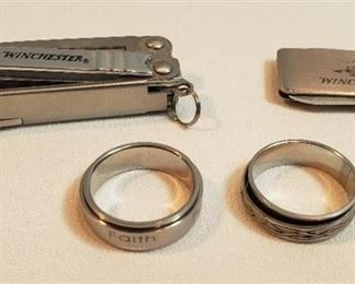 2 Men's Worry Rings: Size 10 & 10.5, Winchester Money Clip w/ Grooming Tools and Winchester Folding Multi-tool