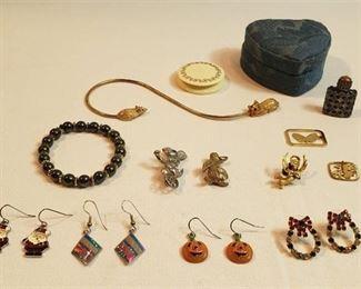 Ladies Costume Jewelry: Earrings, Pins, Bracelet, Perfume Bottle and 2 Holders