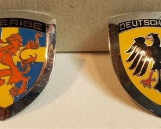2 Bolt-on Metal Car Medallions from Germany