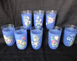 Vintage Periwinkle Blue Hand Painted Glasses