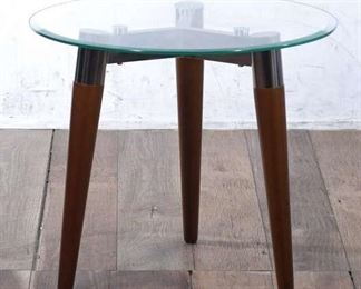 Round Clear Top End Table