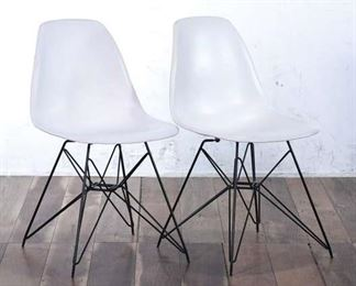 Pair Of White Hairpin Leg Chairs