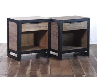 Pair Of Industrial Nightstands, 1 Drawer, 1 Shelf Each
