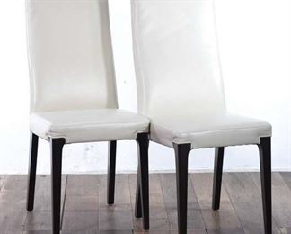 Pair Of White Faux Leather Dining Chairs