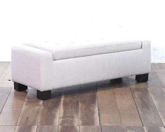 Off White Tufted Upholstery Storage Bench