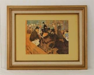 Framed Reproduction Lautrec Cabaret/Bar Scene Print