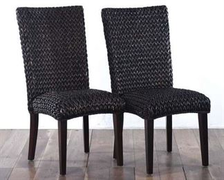 Pair Of Black Woven Dining Chairs