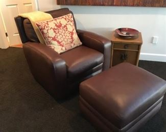 Crate and Barrel Leather Chair and Ottoman - soft, supple leather!  $650
