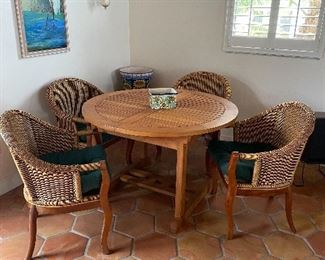 """Teak wood table expands to 30"""" tall X 66 1/2"""" Long X 35"""" wide"""