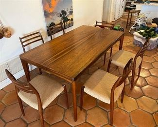 """Table: Vejle Stole Mobelfabrik, Made In Denmark Approx- 30"""" Tall  64 1/2 L  X  29 3/4 W                                  Chairs: Set of 6 Neils Moller #78 Hardwood 17"""" to seat 32""""to back"""