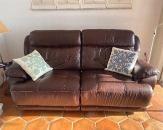 "Leather Double Reclining Love Seat Leggett and Platt  17"" tall at Seat, 37"" tall at back 82"" wide X 3 feet deep"