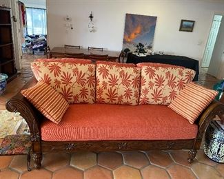 """Tommy Bahama Plantation Style Sofa Daybed with cushions 21"""" tall to seat X 30 1/2"""" to back X 87"""" wide X 37"""" deep"""