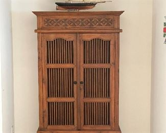 "Indo style bookshelf cabinet approx 70"" tall X 35"" wide X  15"" deep Three Shelfs"