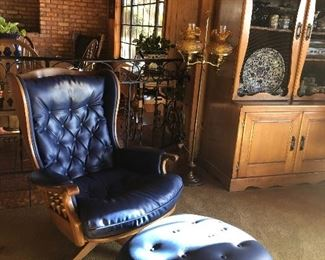 The Sold Wood Lounge Chair in Navy - Colonial Eames, Amber glass standing lamp, Solid wood display cabinet, Loads of Blue and White