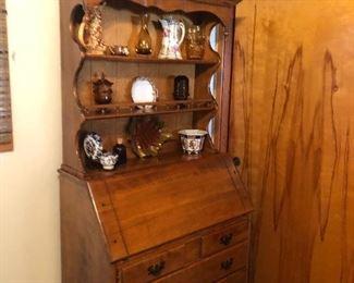 Amber glass owls, McCoy pottery, Flip top 1970's desk