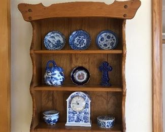 Blue and white china - pottery - Japanese - wood display shelf