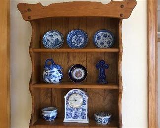 Blue and white china - pottery - Japanese - wood display shelf