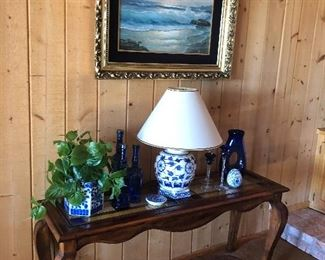 (SOLD) Oil Painting by Anton Gutknecht, blue and white lamps,  Colonial revival furniture