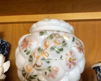 Pillowed Container milk glass and painted.