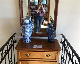 Colonial style bedside table - blue and white
