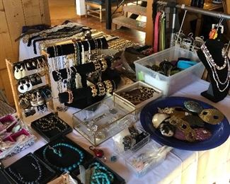 loads of costume jewelry and belts !  OMG!