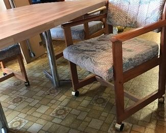 Wood Trimmed Upholstered Rolling Chairs (4)