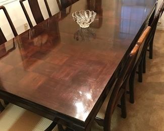 American of Martinsville Asian Inspired Banquet Dining Table w/2 Leafs & 8 Chairs