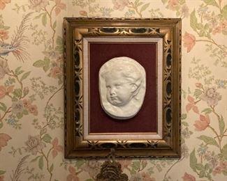 vintage framed infant bust
