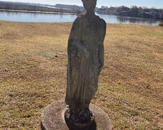 goddess on pedestal garden statuette