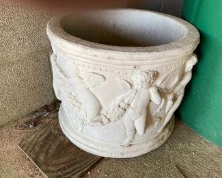 cherub poured garden pot