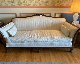 American classic revival sofa circa 1920s down & feather cushion