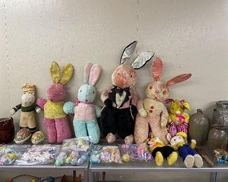 Old Easter Bunnies and Easter Decor