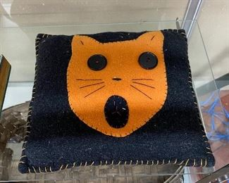 Old Halloween Cat Pillow