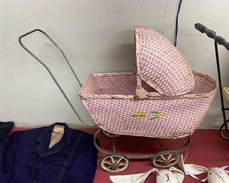 Old Pink Wicker Stroller